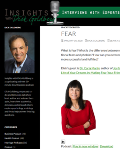 Dr Carla Manly Podcast Cover to link to https://www.dickgoldbergradio.com/fear/